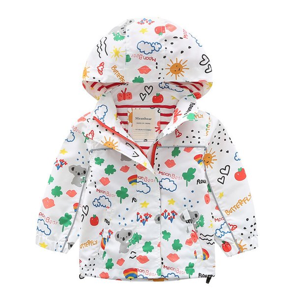 Baby Girl Spring Jackets Windbreaker 2019 Fashion Cartoon Clothes Children Girls Hooded Coat Kids Zipper Outerwear 2-10 Years