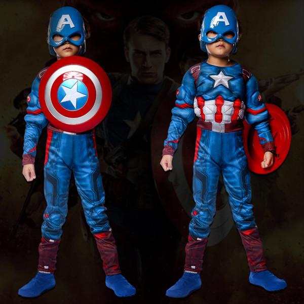 aptain america costume captain america costume for kids Halloween boys avengers costumes Muscle Children Superhero Cosplay Clothing shiel...