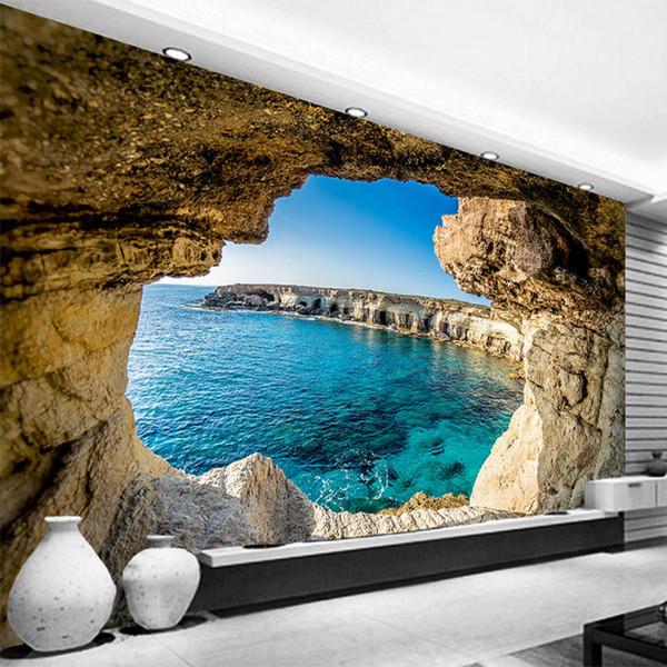 Фотообои Современная Простая Пещера Морской Природный Фреска Гостиная Спальня Интерьер Декор Обои Расширение Пространства Обои