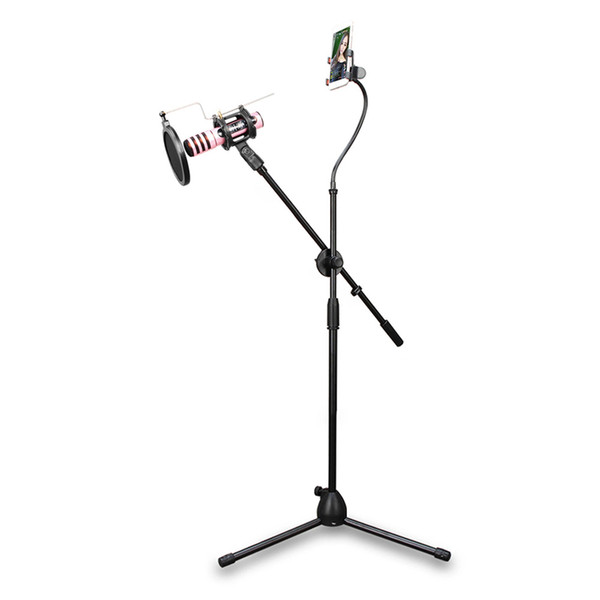 Microphone Tripod Stand Bracket Supporter W/ Shock-proof Mount Mic Pop Filter Mobile Phone Holder for Podcast Broadcast Chatting