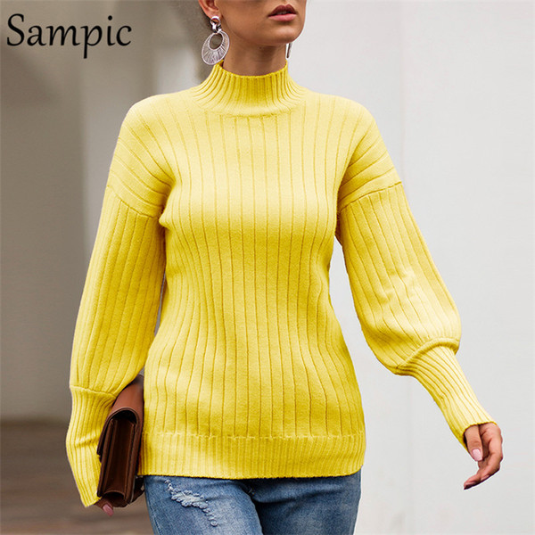 sampic turtleneck long sleeve women sweater casual white jumper pullover yellow vogue knitted winter sweater  2019 - from $22.22
