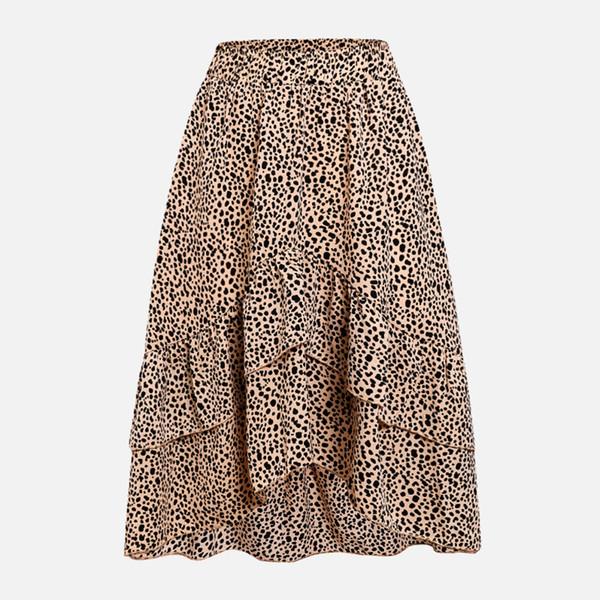 Women's High Waist Ruffled A-line Beach Skirts Polka Dot Pleated Midi Skirt 2019 Spring Summer Casual Clothes Loose Female
