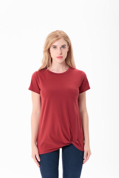 Весна лето Женщины узел футболки о шеи сплошной цвет свободные случайные рубашки с бантом простой топ танк