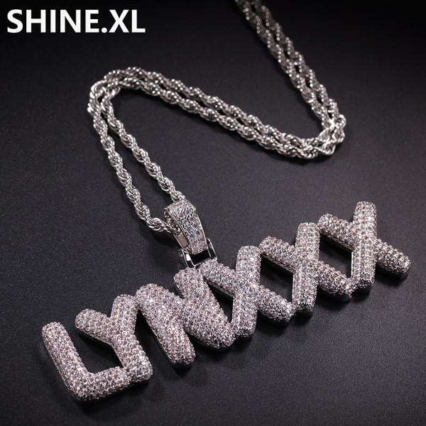 A-Z Nombre personalizado Pequeña Burbuja Letras Collares Colgante Charm Zircon Joyería de Hip Hop Con 4 MM Cadena de cuerda de plata y oro