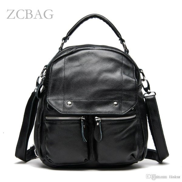 Wholesale- Free Shipping 3 Ways High quality 100% Genuine Leather Women Backpack Shoulder Bag School Bookbag Bacbpack Style Shoulder Purse