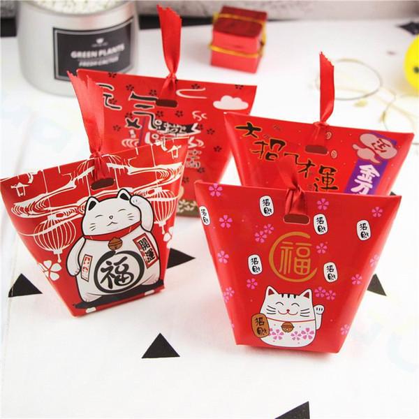 중국 새해 장식 행운의 고양이 봄 축제 결혼식 쿠키 너구리 사탕 상자 너트 트레이 선물 가방 파티 호의 없음 리본