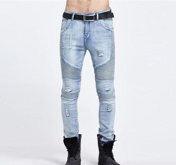 La moda masculina del motorista Jeans Denim Pant destruyó tejido elástico Slim Fit Washed Denim flaco traje de pantalones para hombres Joggers