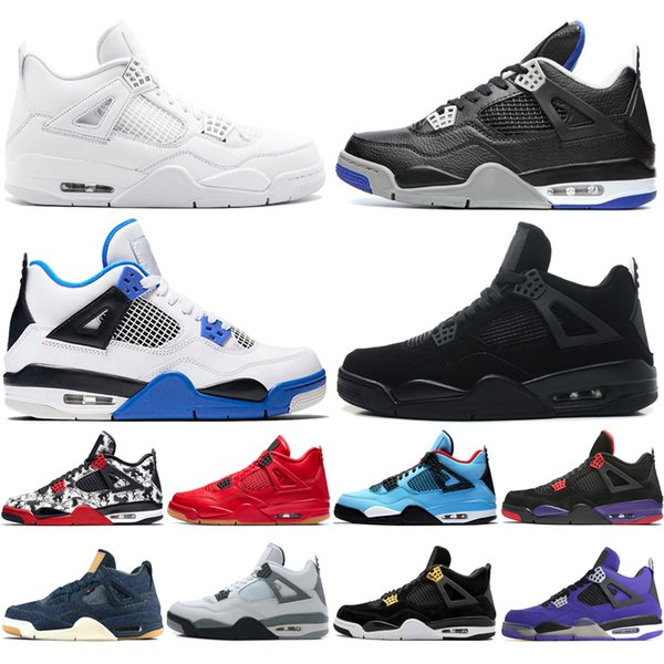 4 Tattoo Singles Day Travis Scotts Raptors Mens Basketball Shoes 4s White Cement Denim Blue Fire Red men sports sneakers designer trainers