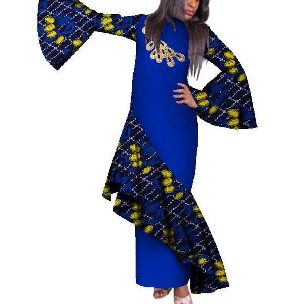 Geleneksel Afrika Uzun Maxi Elbiseler Kadın Parlama Kollu Afrika Baskı Pamuk Parti Elbise Artı Boyutu Elbise Özel Özel WY289