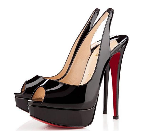 Rote High-Heels mit Luxus-Absatz, Nude / Black-Lackleder-Peeptoes-Sandalen, Slingback 14cm Absatzschuhe mit rückseitigem Riemen und Plateau-Pumps