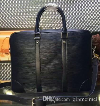 CLASSIC EPI водная рябь черного цвета Сумки из натуральной кожи портфель мужские деловые сумки фирменного дизайна EXPLORER деловая сумка через плечо