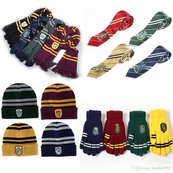 Harri Potter Echarpe Gryffondor Echarpe + Chapeau Chapeau + NECKTIE + gants Echarpes Chaud Doux Costumes Halloween cadeau pour la journée des enfants