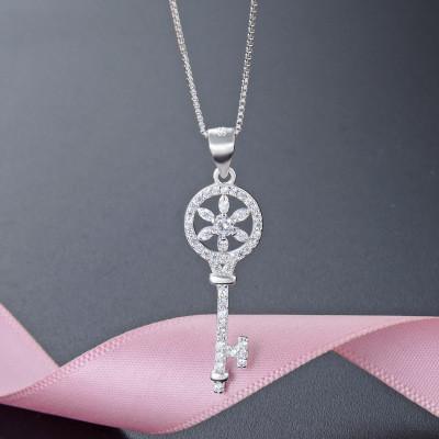 Nouveau 925 argent pur zirconium plaqué classique clé collier pendentif élégant tempérament filles mode premiers bijoux lady collier pendentif