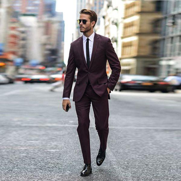 Vestiti Eleganti 2018 Uomo.Acquista 2018 Ultimi Disegni Borgogna Uomo Vestito Giacca Da Uomo