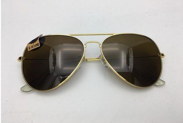 new 2019 Classic Brand men for women driving glass flash brown lens sunglasses 58mm 62 MM