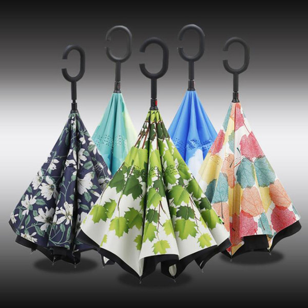 Folding Reverse Umbrella Double Layer C Handle Inverted Umbrellas C Handle Double Layer Windproof Beach Reverse Umbrellas
