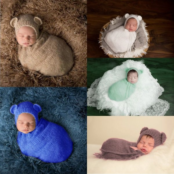 Neonato ragazze dei ragazzi di colore solido Cocoon sacco a pelo Fotografia Prop Handmade tessuto crochet lavorato a maglia Swaddle Costume Baby Shower regalo