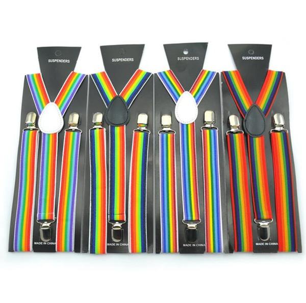 2.5X100CM arcobaleno striscia di cinghie donne / uomo di Y-back della bretella per adulti Clip-on Bretelle elastiche regolabili cinghie bretelle a righe 6color GGA2859
