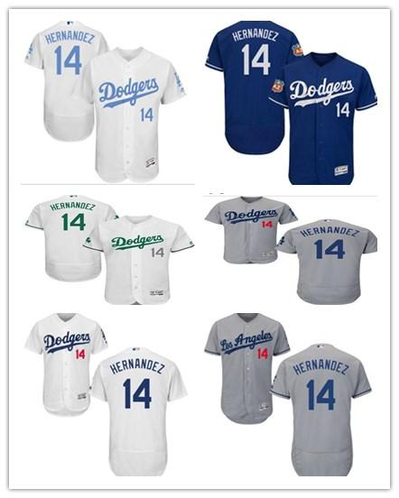 Los Ángeles # 14 Enrique Hernández Jersrys Dodgers hombres # MUJER # JOVEN # Camiseta de béisbol para hombre Ropa deportiva profesional cosida majestuosa
