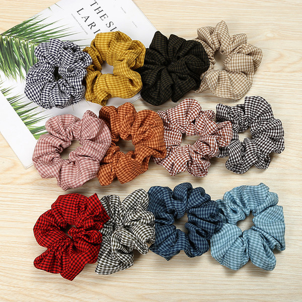 Houndstooth Hair Scrunchie Tie Accesories for Women Girl Ponytail Gingham Plaid Hair scrunchies Holder Rope Hair bands Hairbands FQ0925B