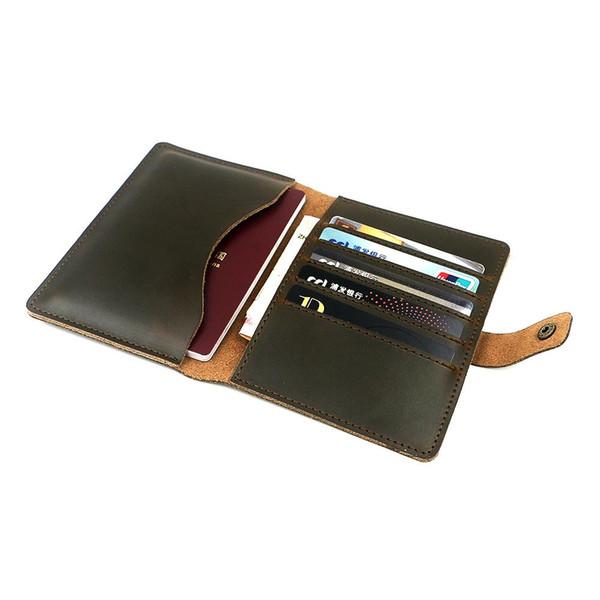 Zolanc Vintage Hasp design Crazy Horse Leather Passports Holder Case Travel Wallet Cards Men's Ticket Passport Holder