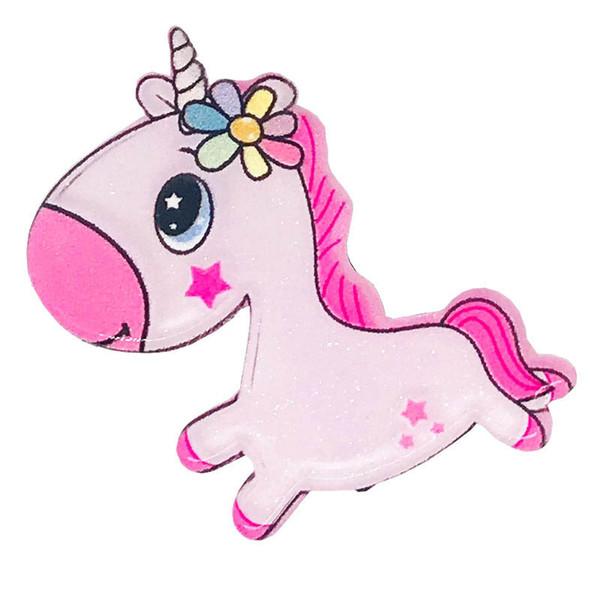 Unicorn Kız saç klipleri akrilik karikatür çocuklar sevimli bebek BB klipler tasarımcı kız saç aksesuarları bebek aksesuarları A9156 tokası