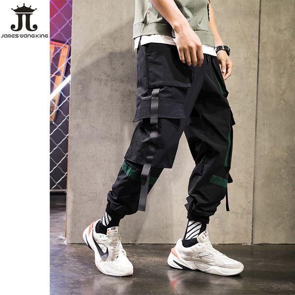 الرجال أزياء الشارع الشهير السراويل الجديدة 2019 ربيع أسود sweatpants متعدد جيب الورك الساخن الحريم السراويل السراويل السببية A151-892