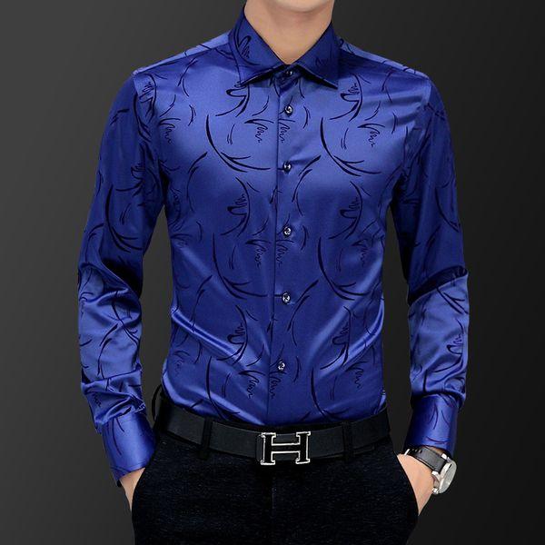 Korean Fashion Style Men's Shirt Wedding Party Dress Long Sleeve Vintage Shirt Silk Tuxedo Top Chemise Male Cotton White