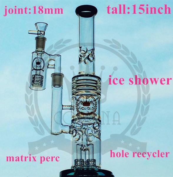 fabbrica di Bella acqua bicchiere di vetro bong con disco di vetro sinterizzato vetro perc bong gorgogliatore inebriante viola tubo di acqua verde con downstem