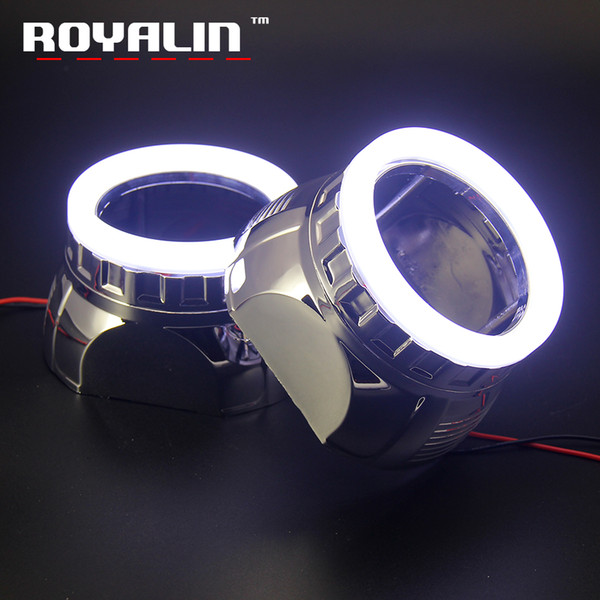 ROYALIN Car Styling Daytime Running Light LED Cotton Light SMD Angel Eyes Shrouds White 80mm Mini Bi Xenon H1 Projector Lens DRL