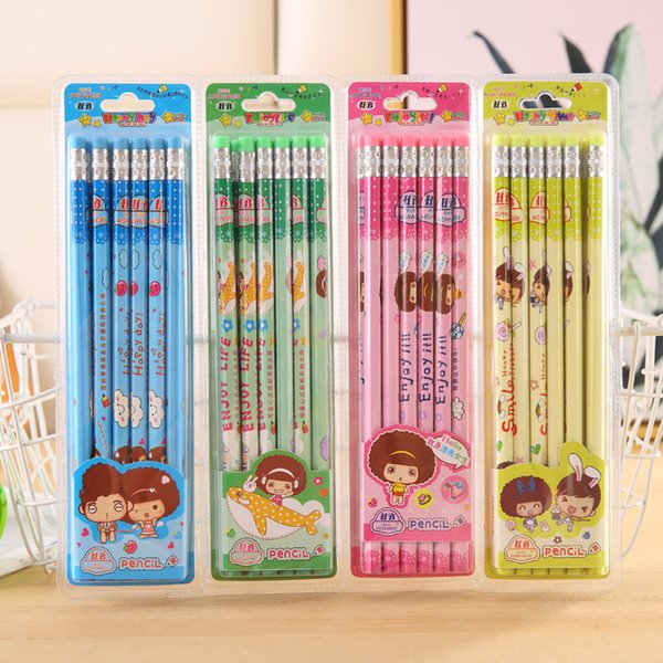 Cartoon Cute HB Pencils with Eraser Student Kid Children Writing Pencil Lead Free Wood Pencils 12pcs Blister Packaging