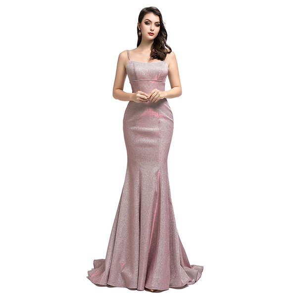 Charming Mermaid Spaghetti Strap Evening Dresses 2020 Soft Shining Fabric Formal Occasion Prom Party Dresses Real Image