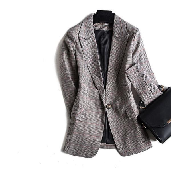 fashionOne Grain Buckle Ma'am Small Suit Autumn Suit Collar Slim Lattice Loose Coat Femalee