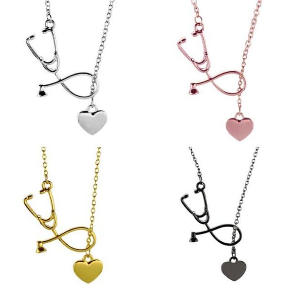 Médecin Infirmière Stéthoscope Coeur Or Rose Charme Pendentif Chaîne Collier
