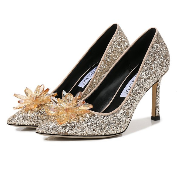 Big Size 35 41 Sequins Crystal Wedding Shoes Sexy Pointed Toe 6cm