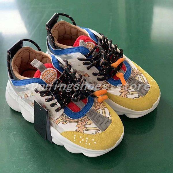 Yeni Sarı Zincir Reaksiyon Sneaker Eğitmenler Mens Womens Sneakers Hafif Zincir Bağlantılı Kauçuk Taban Ayakkabı Tasarımcısı Moda Ayakkabı Boyutu 36-45