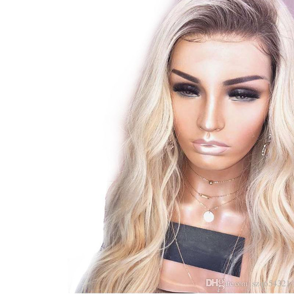 Two Tone Wave Colored Dark Roots 613 Blonde Ombre Lace Front Human Hair Wigs Brazilian Remy With Natural Hairline 180 Density