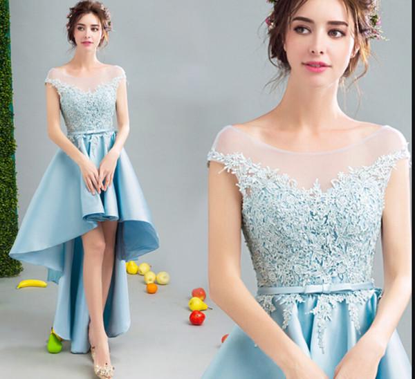 Vestido De Festa sky blue lace appliques a line high low evening dress sheer back sexy corset cap sleeve formal evening gowns best selling