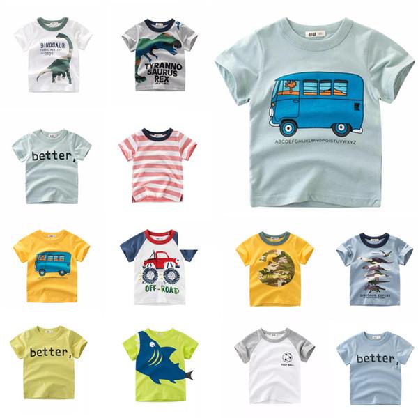 INS Designer Clothes Tee Summer Infant Cotton Children Boys Girls Tee Cartoon Dragon Shark Girls Short Sleeve Better Letters T-shirts Tops