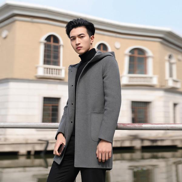 2018 Winter Business Casual Einfarbig Verdickung Hut Doppelseitige Wolle Männer Mantel Slim Fit Windjacke Kaschmir Lange Männlichen Mantel