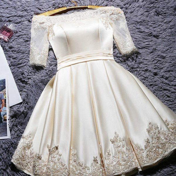 Платья невесты Свадебные вечерние тосты Плечо Короткое кружево Вечернее платье Вечернее платье Вечернее платье Вечерние платья Вечернее платье