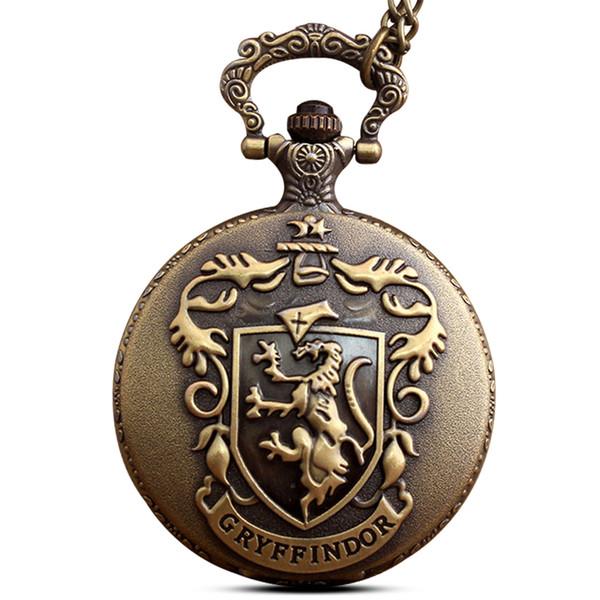 Retro Antique Bronze Pocket Watch Vintage Metal Flip Fob Quartz Clock with Chain Necklace Pendant Gift For Boy Relogio De Bolso