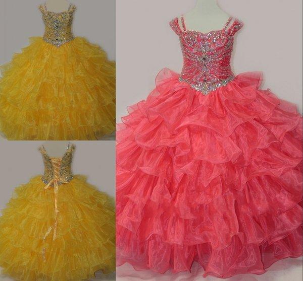 Pretty Belle Yellow Coral 2019 Pageant Kleider mit kurzen Ärmeln Korsett Organza Ballkleid Strass Mädchen Kristall Perle Blume Mädchen Kleid