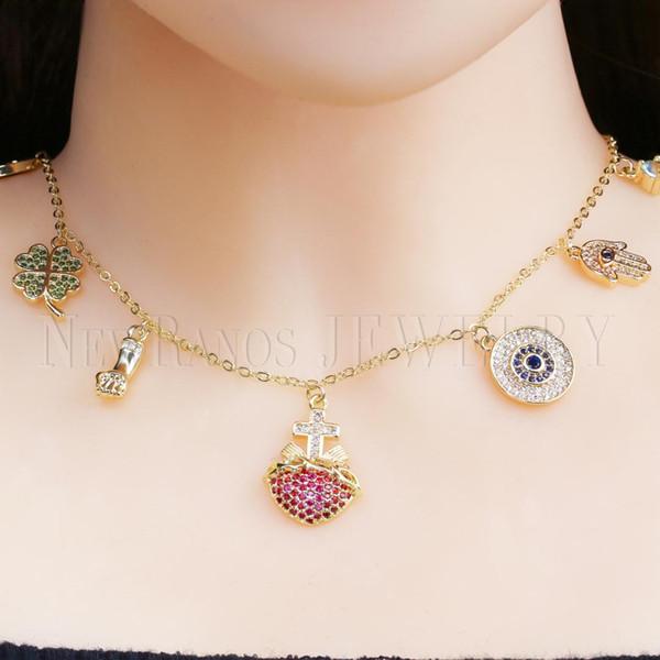 Newranos türkische böse Augen Hamsa Hand Halskette Multi Farbe CZ Zirkone Kreuz Anhänger Kette Halskette für Modeschmuck NWX0021604