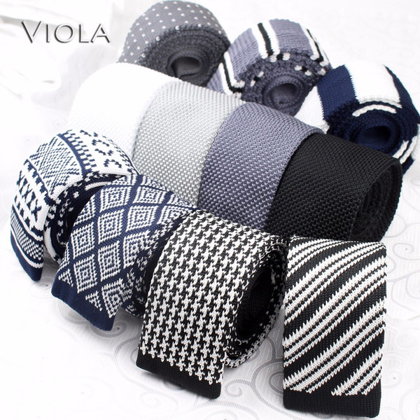 Popular Knit Neck Tie Concise Polyester Weave Tie White Grey Black Dark Blue Men Tuxedo Banquet Gift Accessory Fashion Stylish