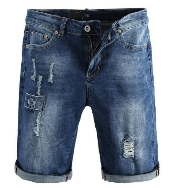 Летний тренд новые мужские джинсовые шорты синий мыть носить эластичные узкие джинсы брюки Мужские брюки