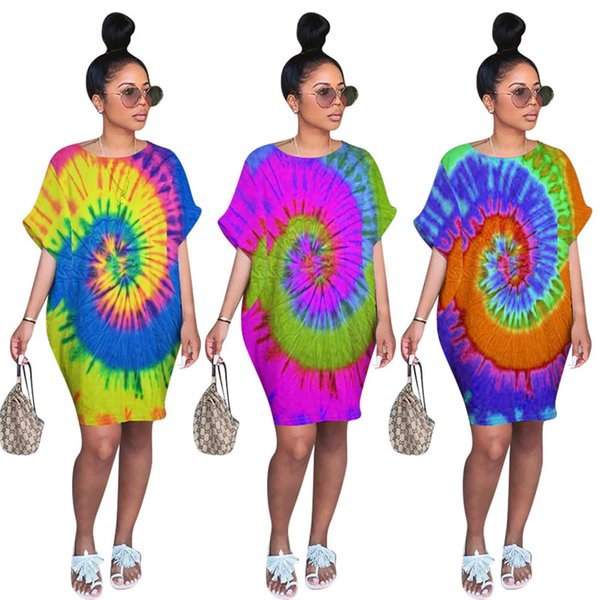 Women Designer Party Dresses Midi Dresses Sexy Skirts Night Club Tie Dye Skirt Short Sleeve Casual Dresses Clothes Summer HOT Selling 1269