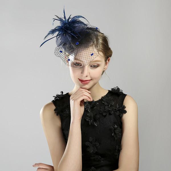 Heat Sell Formal Hat Feather Veil Banquet Headwear Full Dress Accessories Hair Accessories Women's Veil Face