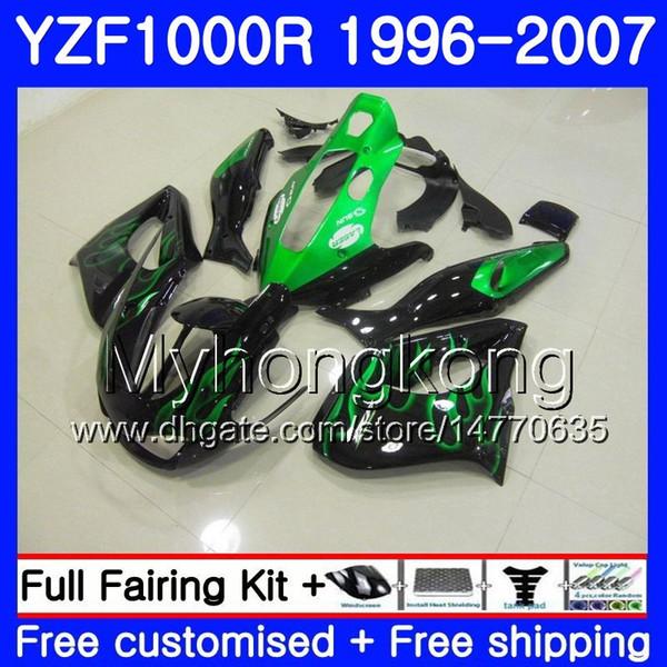Körper für YAMAHA Thunderace YZF1000R 96 97 98 99 00 01 238HM.4 YZF-1000R YZF 1000R Grüne Flammen 1996 1997 1998 1999 2000 Verkleidungssatz