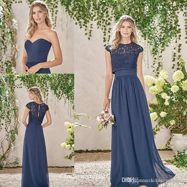 2019 New Dark Navy Formal Bridesmaid Dress Cheap Two Pieces Lace Cap Sleeves Ruched Long Maid of Honor Gown Plus Size Custom Made
